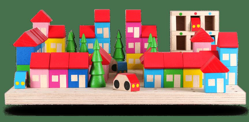 Pohled na Dřevěná stavebnice Velké městečko 3